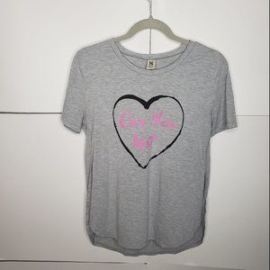 Hybrid Can You Not Heart Short Sleeve Top Large
